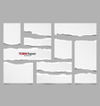 white ripped paper strips collection realistic vector image