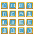 window design icons set sapphirine square vector image vector image