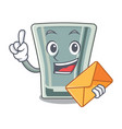 with envelope shot glass in cartoon shape vector image vector image