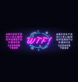 wtf neon text design template comic speech vector image