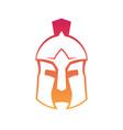 spartan greek helmet outline on white vector image