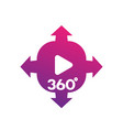 360 degrees panoramic video content icon vector image vector image