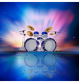 abstract music blue background with drum kit and vector image vector image