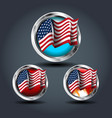 american flag set steely rounded badge icon for vector image vector image