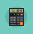 an isolated calculator with flat style and green vector image