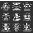 Barber Hipster Emblem Set vector image vector image