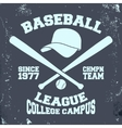 Baseball league stamp vector image