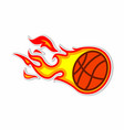 basketball fireball sticker concept vector image vector image