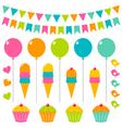 birthday elements set vector image vector image