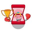 boxing winner wedding ring box in character bag vector image vector image