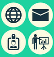 business icons set collection of envelope earth vector image vector image