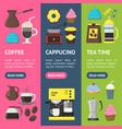 cartoon coffee shop banner vecrtical set vector image vector image