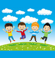 cheerful children in a jump vector image