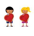 children holding heart vector image vector image