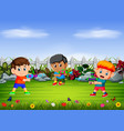 children play the water shot in the yard vector image vector image