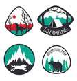 colored set camping emblems labels and logos vector image
