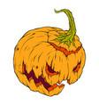 creepy orange pumpkin with mug on white background vector image vector image