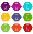creme tube icons set 9 vector image vector image
