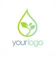 eco water drop organic logo vector image