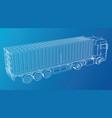 eurotrucks delivering vehicle wire-frame eps10 vector image