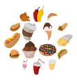 fast food cartoon icons vector image vector image