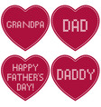 fathers day cross stitch embroidery on red hearts vector image vector image
