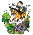 funny pony riding vector image vector image