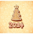 gingerbread Christmas tree with sign vector image vector image
