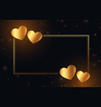 golden shiny hearts frame with text space vector image