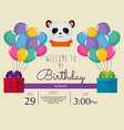 happy birthday card with cute bear panda vector image vector image