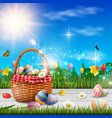 happy easter with eggs and flowers background vector image vector image