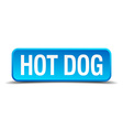 Hot dog blue 3d realistic square isolated button vector image vector image
