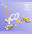 isometric ico banner poster template vector image vector image