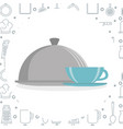 kitchen tray server with coffee cup utensil icon vector image vector image