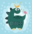 little princess cute dino - funny vector image vector image