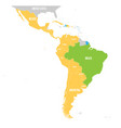 map of latin america with differently vector image vector image
