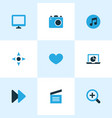 media icons colored set with display controller vector image vector image