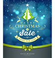 Merry Christmas lettering green tree sale design vector image vector image