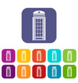 phone booth icons set vector image vector image