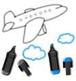 Plane with clouds and markers vector image