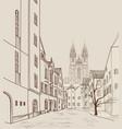 prague city skyline building silhouette cityscape vector image vector image