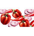 red pepper and onion pattern menu vector image