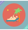 Relax under an palm on a lounger vector image