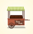Retro farm fresh cart on beige background vector image