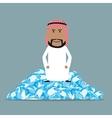 Rich arab businessman sitting on diamonds vector image vector image