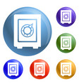 safe money box icons set vector image vector image