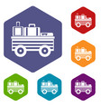 service cart with luggage icons set vector image vector image