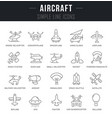 set line icons aircraft vector image