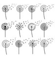 set of abstract dandelion blowing isolated vector image