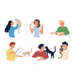 set six different people playing with pet cats vector image vector image
